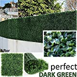 GENPAR Artificial Boxwood Hedge Covers 33 SQ Feet 12 Panels (20″ x 20″) UV Protection 15 Years Life Span Indoor Outdoor Greenery Topiary Home Backyard Garden Decoration Privacy Fence (Dark Green)