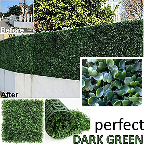 "GENPAR Artificial Boxwood Hedge Covers 33 SQ Feet 12 Panels (20"" x 20"") UV Protection 15 Years Life Span Indoor Outdoor Greenery Topiary Home Backyard Garden Decoration Privacy Fence (Dark Green)"
