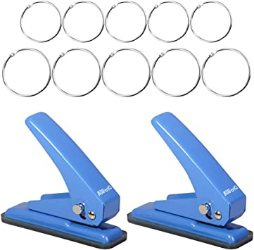 Fdit Paper Punch Single Metal Hole Puncher Herramienta de Corte del aro para la artesan/ía Scrapbooking Ticket Marking Escuela casa y Oficina