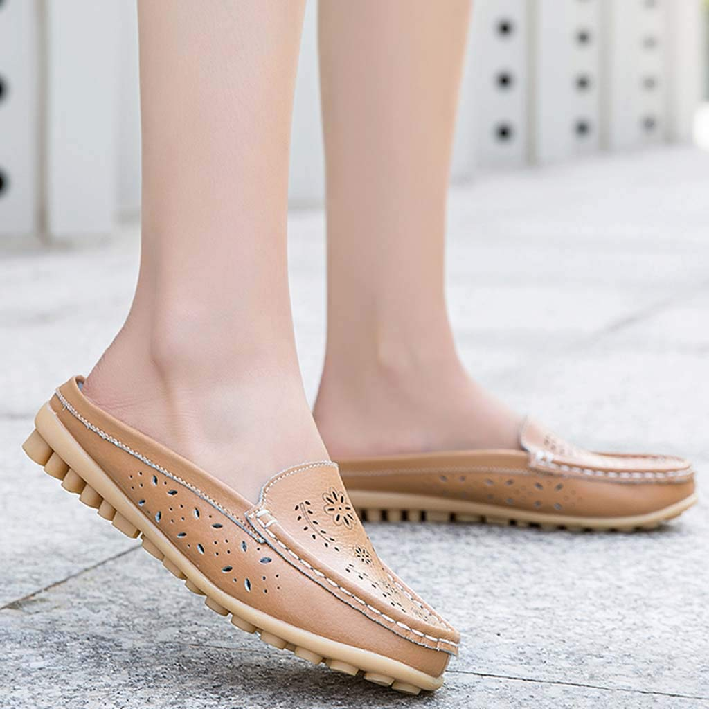 ✔ Hypothesis_X ☎ Womens Retro Backless Slip On Loafer Flats Pointed Toe Mules Low Heel Dress Slipper Shoes Yellow by ✔ Hypothesis_X ☎ Shoes (Image #3)