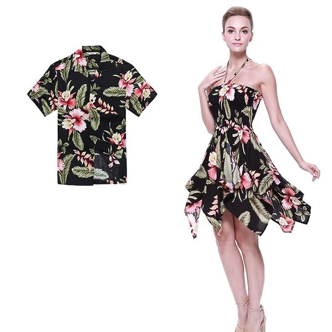 Pareja coincidente hawaiana Luau Aloha camisa gitana vestido en Rafelsia negro 2XL