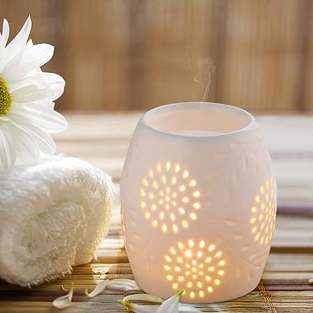 Ecooe Lámpara de aceites Esenciales para aromaterapia cerámica Quemador de Incienso Blanco: Amazon.es: Hogar