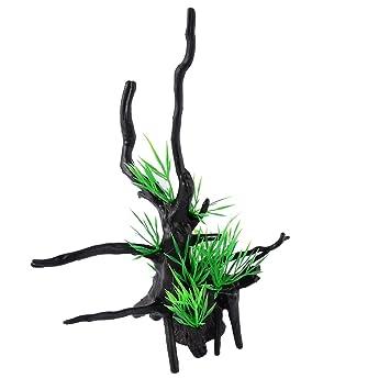 sourcing map Plástico Negro Verde Hoja Artificial Diseño de Árbol Planta Hierba Paisajismo Acuático Pecera: Amazon.es: Productos para mascotas
