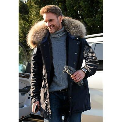 Aox Mens Casual Faux Fur Hood Thicken Winter Coat Lightweight Snow Jacket Parka