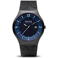 Bering Heren Analoog Slim Solar Horloge met Roestvrij Stalen Armband 14440-227, Zwart/Blauw