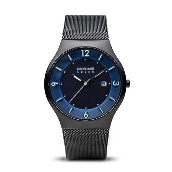 BERING Reloj Analógico para Hombre de Energía Solar con Correa en Acero Inoxidable 14440-227: Amazon.es: Relojes