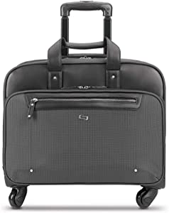 Solo New York Gramercy Rolling Laptop Bag. 4 Wheel Rolling Briefcase for Women and Men. Fits Up to 15.6 Inch Laptop - Grey