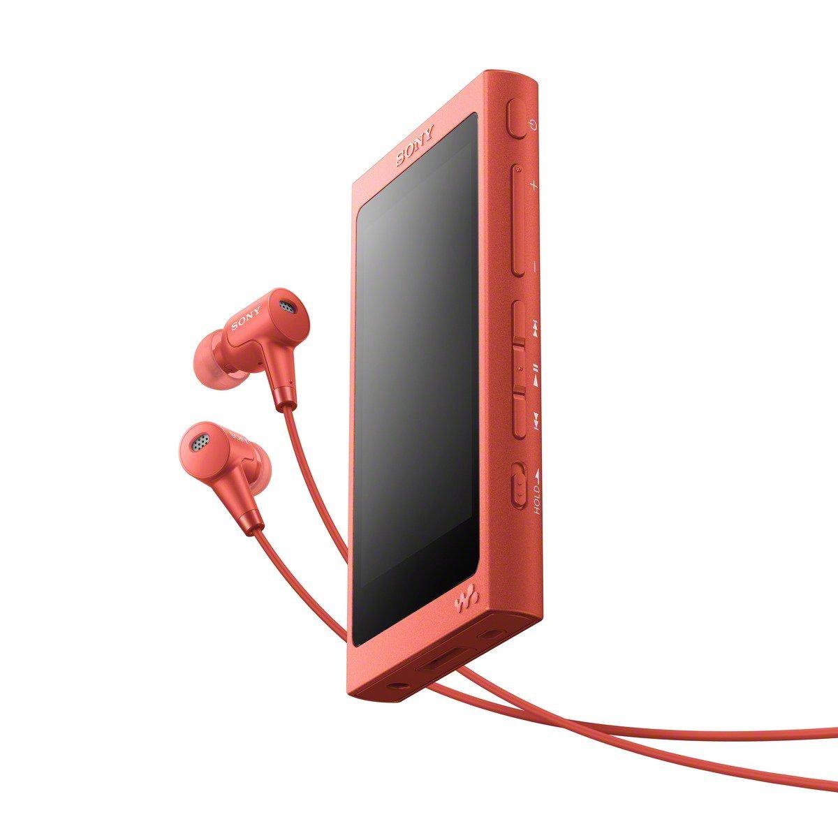 Sony NWA45HN - Reproductor de audio Walkman (16 GB, Hi-res audio, DSD, DSEE HX, S-Master HX, NFC, Noise Cancelling digital, 45 horas de reproducción, incluye auriculares intraurales), rojo crepuscular