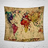 """Uphome Colorful World Map Wall Tapestry Hanging – Light-weight Polyester Fabric Wall Decor (60""""H x 80""""W, Color Map)"""
