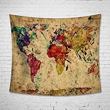 Amazon.com: Colorful Map Tapestry Wall Hanging – Uphome Light ...
