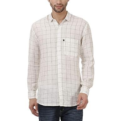 e1d045f85ac Black Orange Pure Linen Casual Formal White Check Shirts  Amazon.in ...