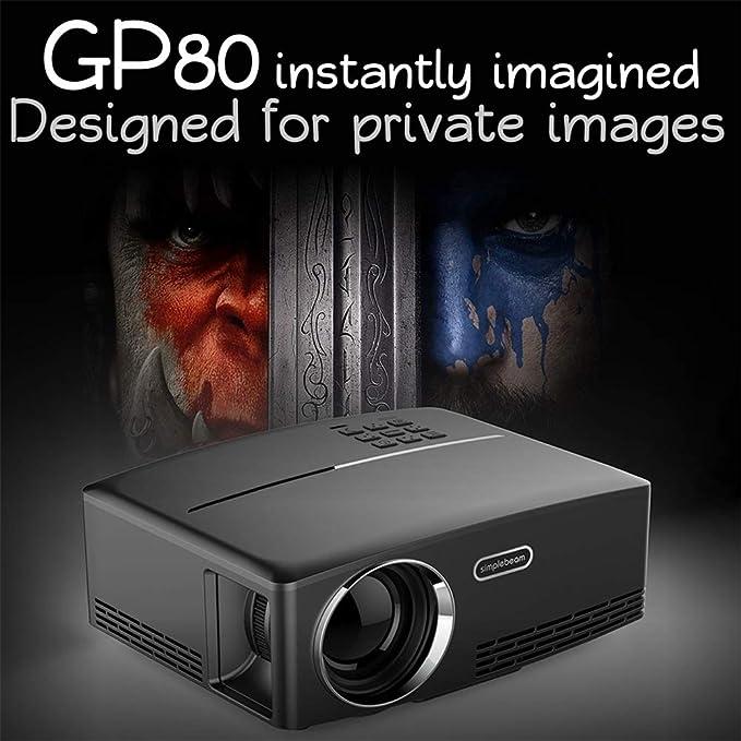 Cine en casa GP80 Proyectores,1800 Lúmenes Portátil Casa ...