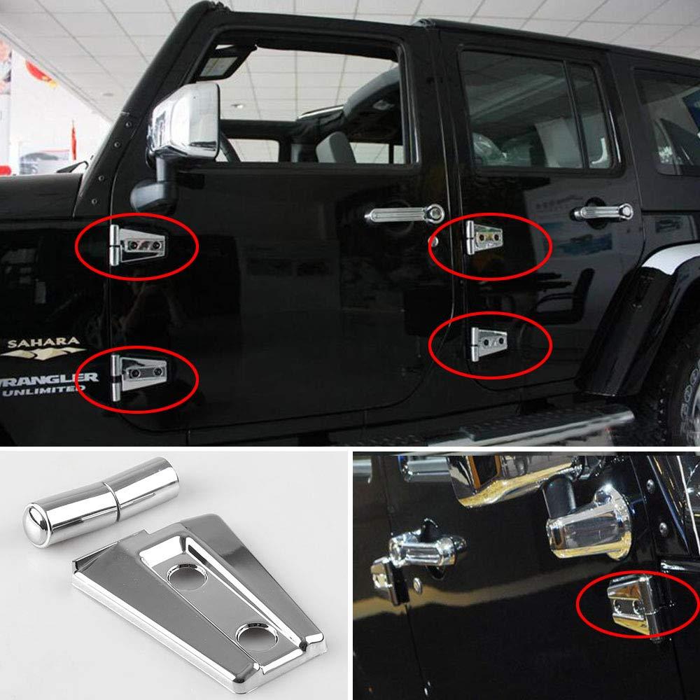 BEESCLOVER 4pcs//set for Jeep Wrangler JK Unlimited 4Door 2007-2017 Black Door Hinge Cover silver