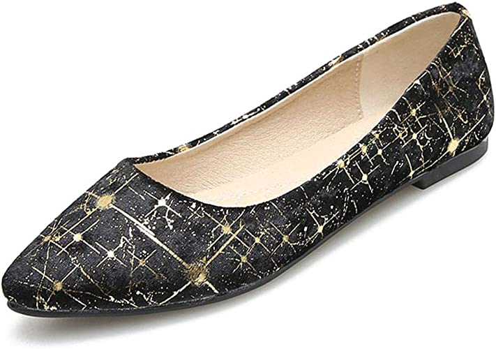 MAIERNISI JESSI Womens Casual Pointed Toe Ballet Flat Shoes