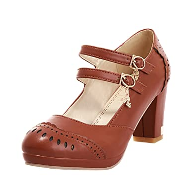 YE Damen Mary Jane Pumps Blockabsatz High Heels Plateau mit Riemchen Schuhe