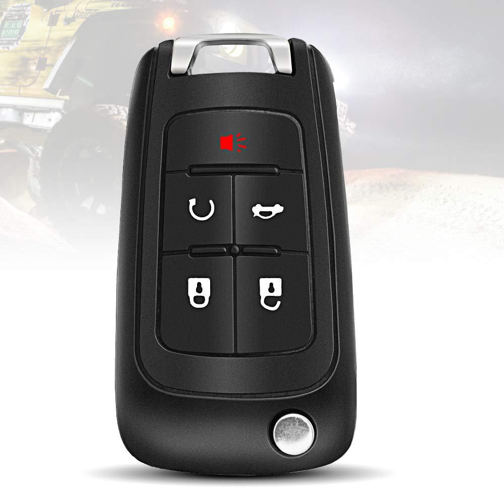 TURBOSII Car Key Fob Replacement Keyless Entry Remote Flip fits Chevy Chevrolet Malibu Sonic Impala Equinox Limited Cruze Camaro//Buick Allure Encore Lacrosse Regal Verano//GMC Terrain OHT01060512