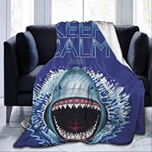 """SKDSArts Flannel Soft Bed Blanket Throw Blankets Sea Animals,Keep Calm and Shark Jaws Attack Predators Hunter Dangerous Wild Aquatic Nature, Blue White,60""""x80"""" for Kids Adults Boys Girls Mens Womens"""