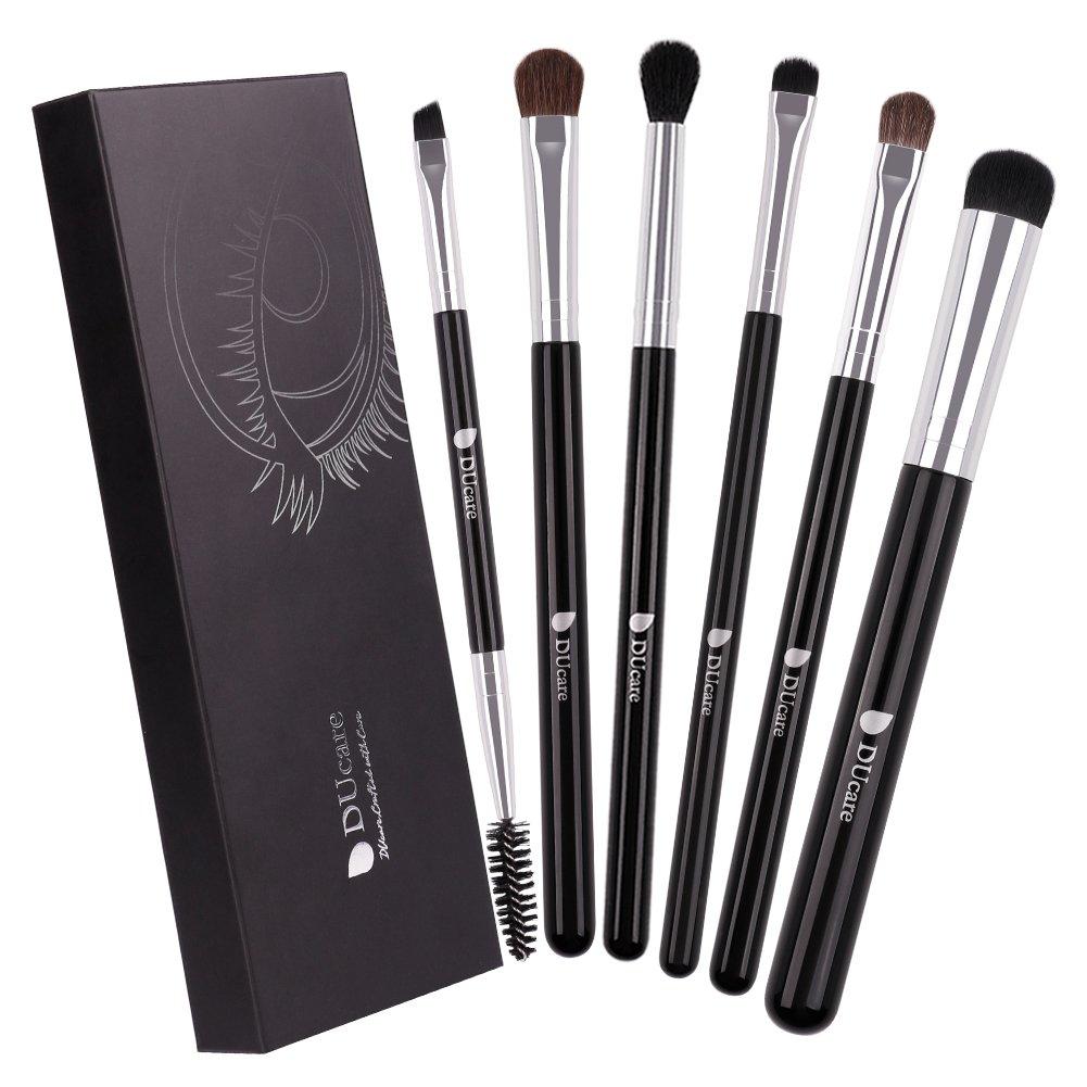 Eye Makeup Brushes, DUcare 6Pcs Eyeshadow Brush Set Blending Concealer Eye Brushes Shadow Eyeliner Eyebrow Shader Makeup Brushes Set with Case BellexixiBE