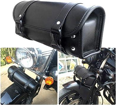 A Motorcycle Fork Bag Waterproof Motorbike Tool Bag Handlebar Bag PU Leather Saddlebag Front Rear Storage Tool Pouch 2 Straps for Honda Yamaha Kawasaki Suzuki Ducati KTM Harley Davidson Sportster