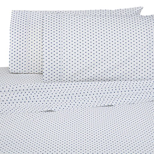 Under The Canopy Fiori Brushed Organic Cotton Sheet Set, California King, Infinity Blue