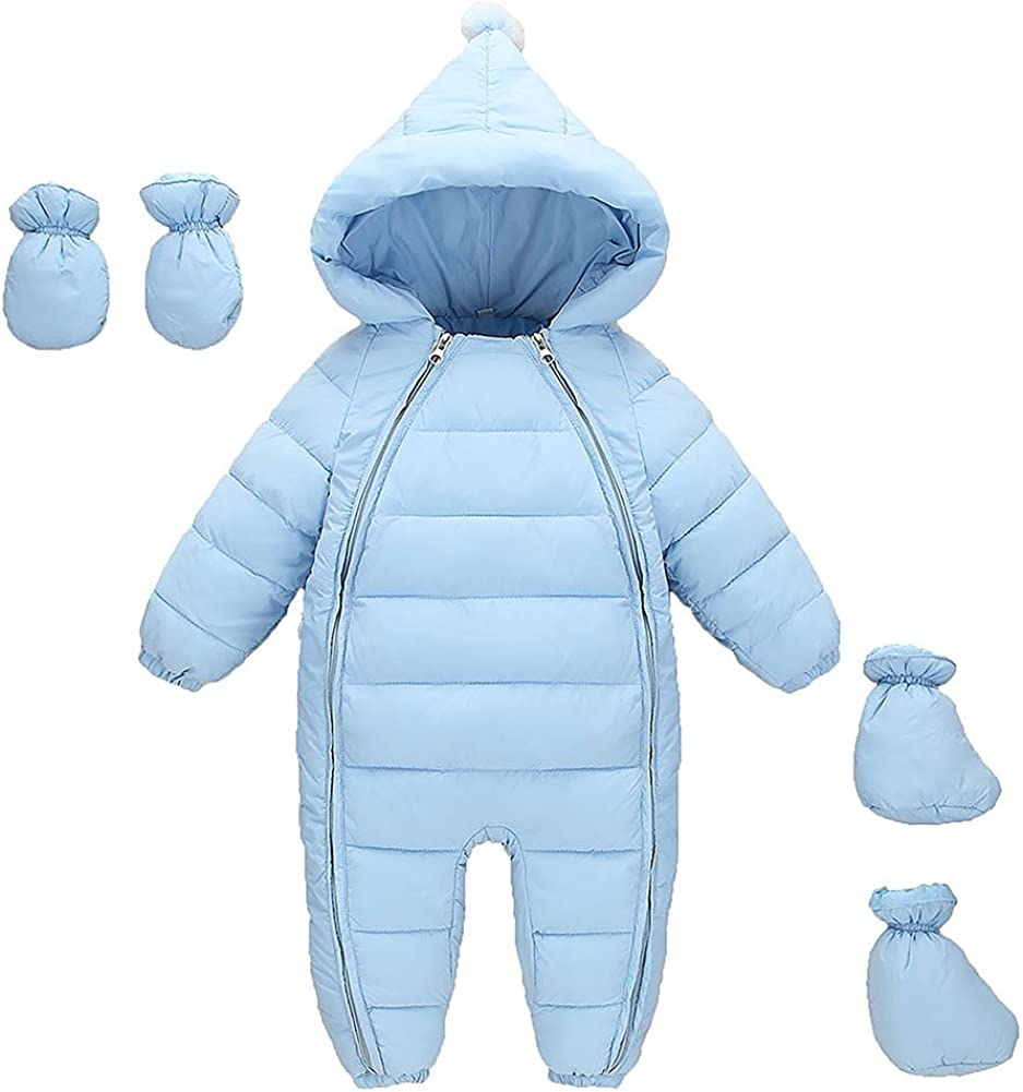 MissChild Snowsuit Baby Boy Girl Winter Warm Rompers Jumpsuits with Gloves Footies for Newborn
