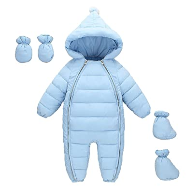 dbc3ffa399033 MissChild Snowsuit Baby Boy Girl Winter Warm Rompers Jumpsuits with Gloves  Footies for Newborn  Amazon.co.uk  Clothing