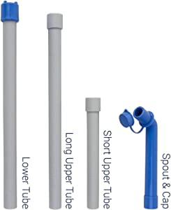 Dolphin Water Pump - Replacement Accessories Bundle (Long Upper Tube/Short Upper Tube/Lower Tube/Spout with Cap) for 2nd Gen. Dolphin Water Pump
