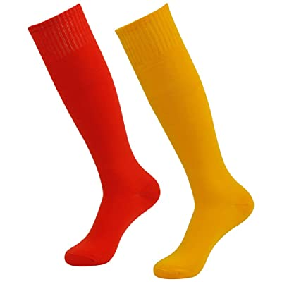 3street Unisex Professional Solid Over the Calf Soccer Compression Sock Red Orange 2-Pairs