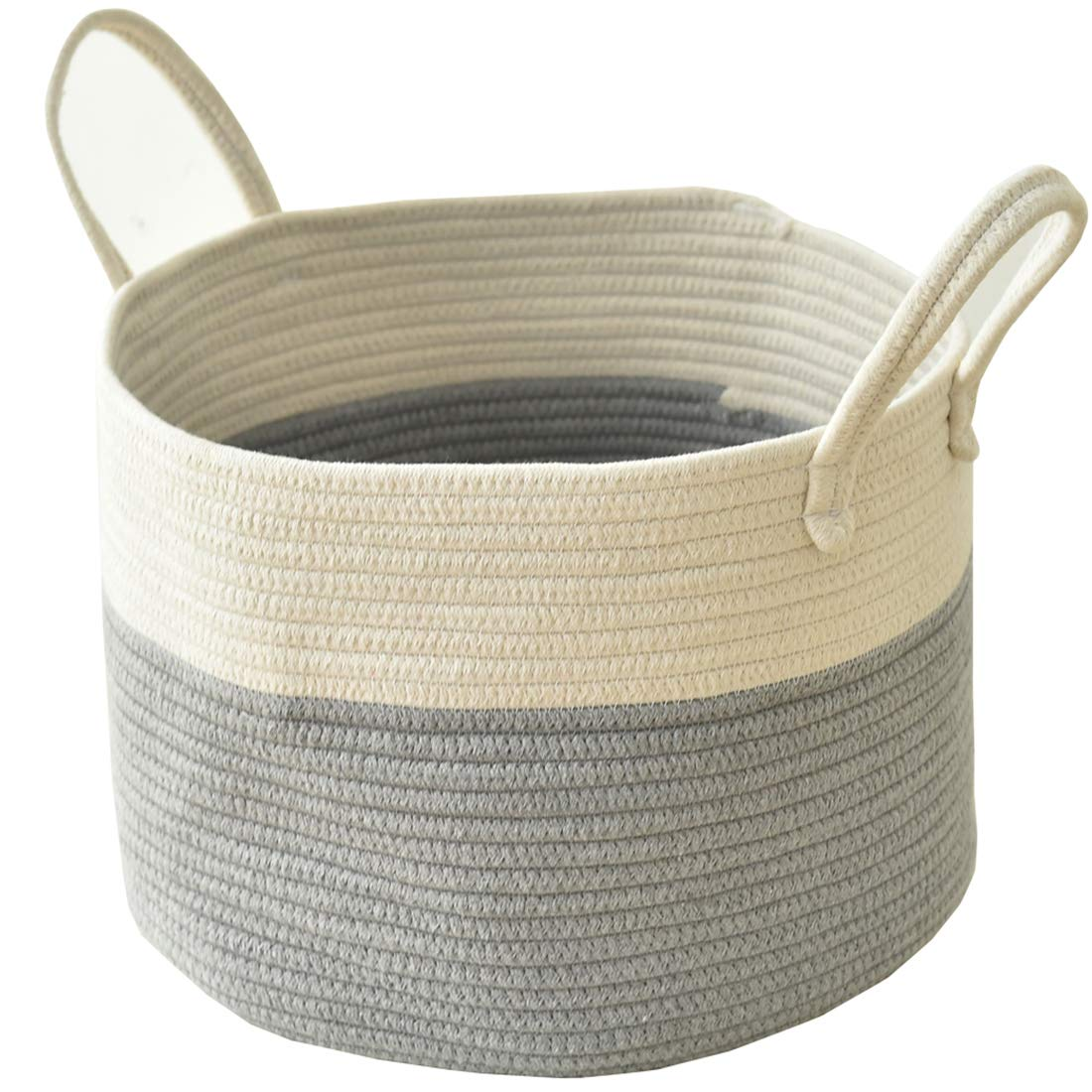 """Inough Cotton Rope Storage Baskets with Handles Durable Large Storage Bins Home Organizer Solution for Office, Bedroom, Closet, Toys & Laundry 15"""" x 9.8"""" (Cylinder)"""
