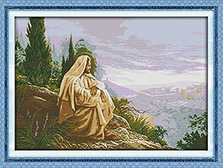 Counted Cross Stitch Kits Jesus Overlook 14 Count 30x 22 DIY Needle Work for Home Decor
