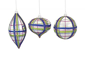 preppy plaid glass christmas tree ornaments set3 assorted - Plaid Christmas Ornaments