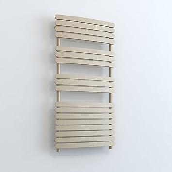 Radiador de baño calentador de toallas eléctrica con resistencia calefactora Radiador curvado Greeba cromo/blanco/hielo blanco/arena/lavagrau/Negro 800 ...