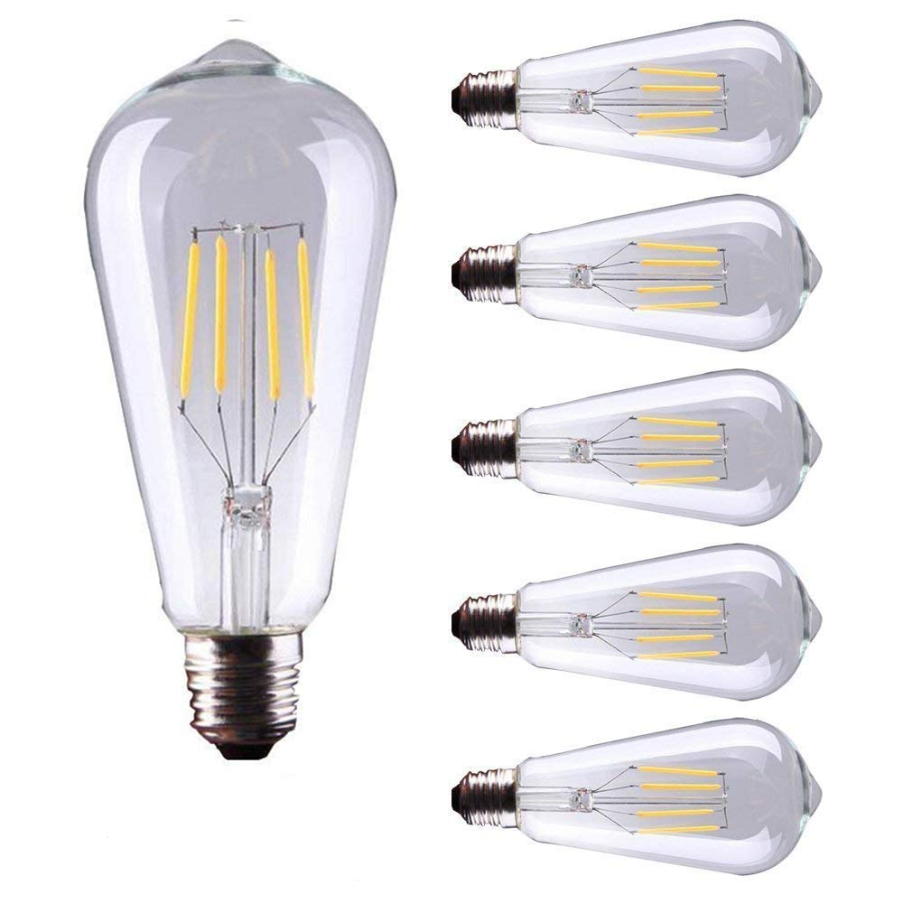 5 Pack E27 Base Filamento LED Estilo Vintage Bombillas 4W 400 Lúmenes Edison Luz Bombilla de estilo único diseñador - Blanco cálido 2700K (Equivalente a 40W ...