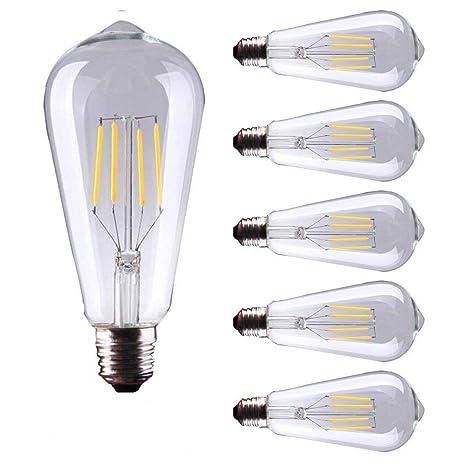 5 Pack E27 Base Filamento LED Estilo Vintage Bombillas 4W 400 Lúmenes Edison Luz Bombilla de