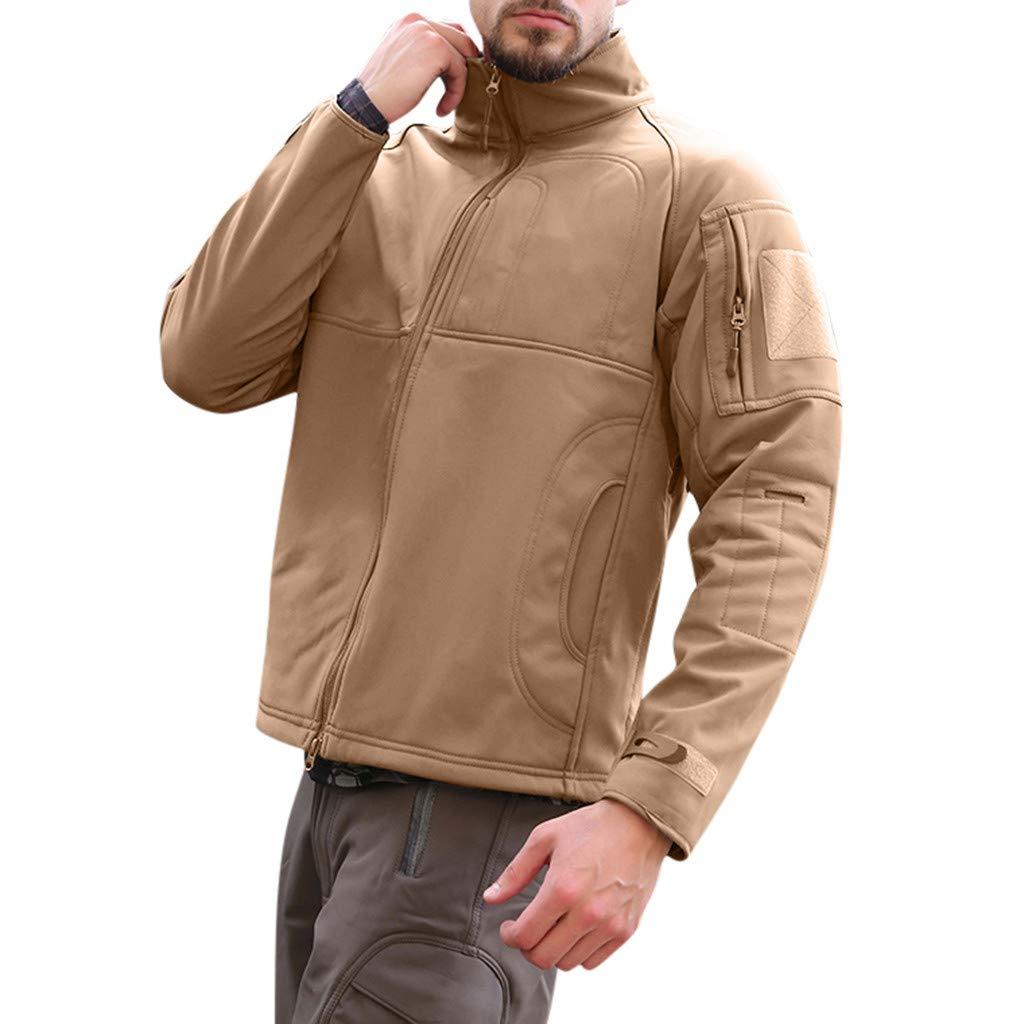 Fitfulvan Men's Winter Coat Softshell Jackets Sports Outdoor Zipper Soft Outwear Tops Khaki