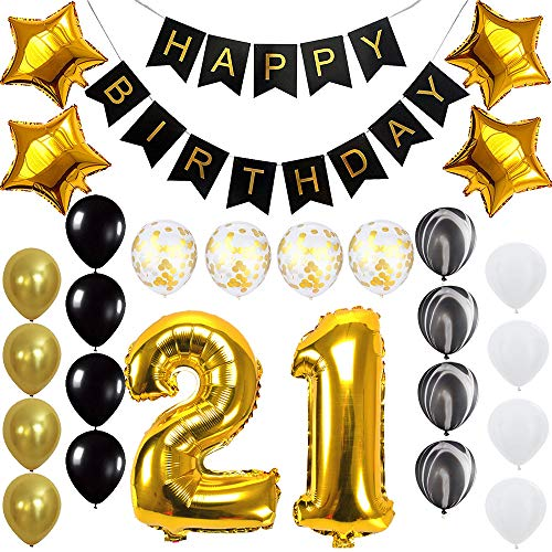 Happy 21st Birthday Banner Balloons Set for 21 Years Old Birthday Party Decoration Supplies Gold -