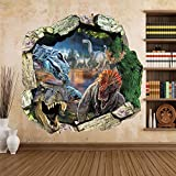 Zooarts® Dinosaur Cracked Wall Removable Vinyl Mural Art Wall Sticker Decal Picture