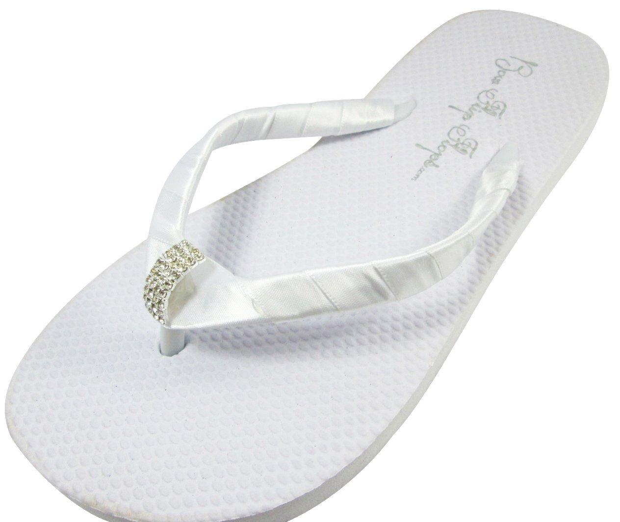 0937a41796bdf Amazon.com  Bridal Flip Flops Wedding White Flat Bride Emerald Cut Jewel  Satin Rhinestone Flip Flops  Handmade