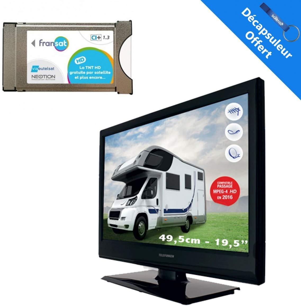 sedea Pack televisor Camping TV LED Telefunken 20 Pulgadas + Receptor Satellite Fransat con Tarjeta: Amazon.es: Electrónica