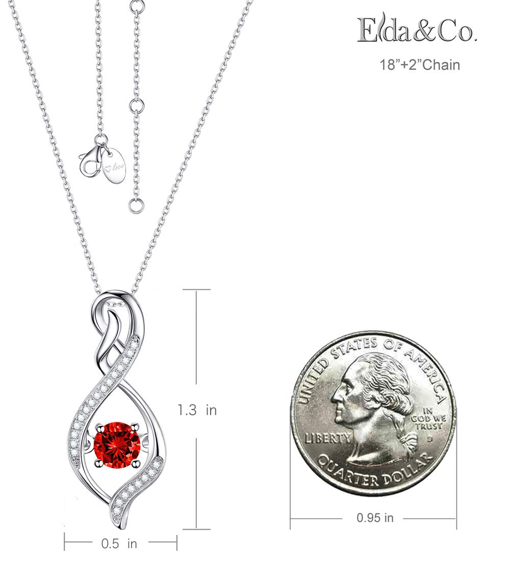 Elda&Co July Birthstone created Ruby Necklace Sterling Silver Forever Love Intinity Pendant Necklace for Women Teen Girls Birthday Gifts Anniversary Gifts for Her by Elda&Co (Image #2)
