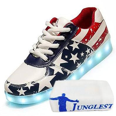 (Present:kleines Handtuch)Lackleder High Top Weiß EU 42, LED Turnschuhe JUNGLEST® Schuhe Größe mode 7 43 Damen Farbe Sneaker Top für Unisex-Erwachsene Sportschuhe High Lackleder Sport