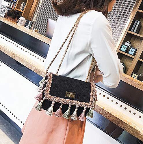 Piccola catena diagonale a Borsa quadrata etnico borsa selvaggia spalla Nappa Elegante totes GSHGA Black Canvas borsa femminile stile wHqFtEU8