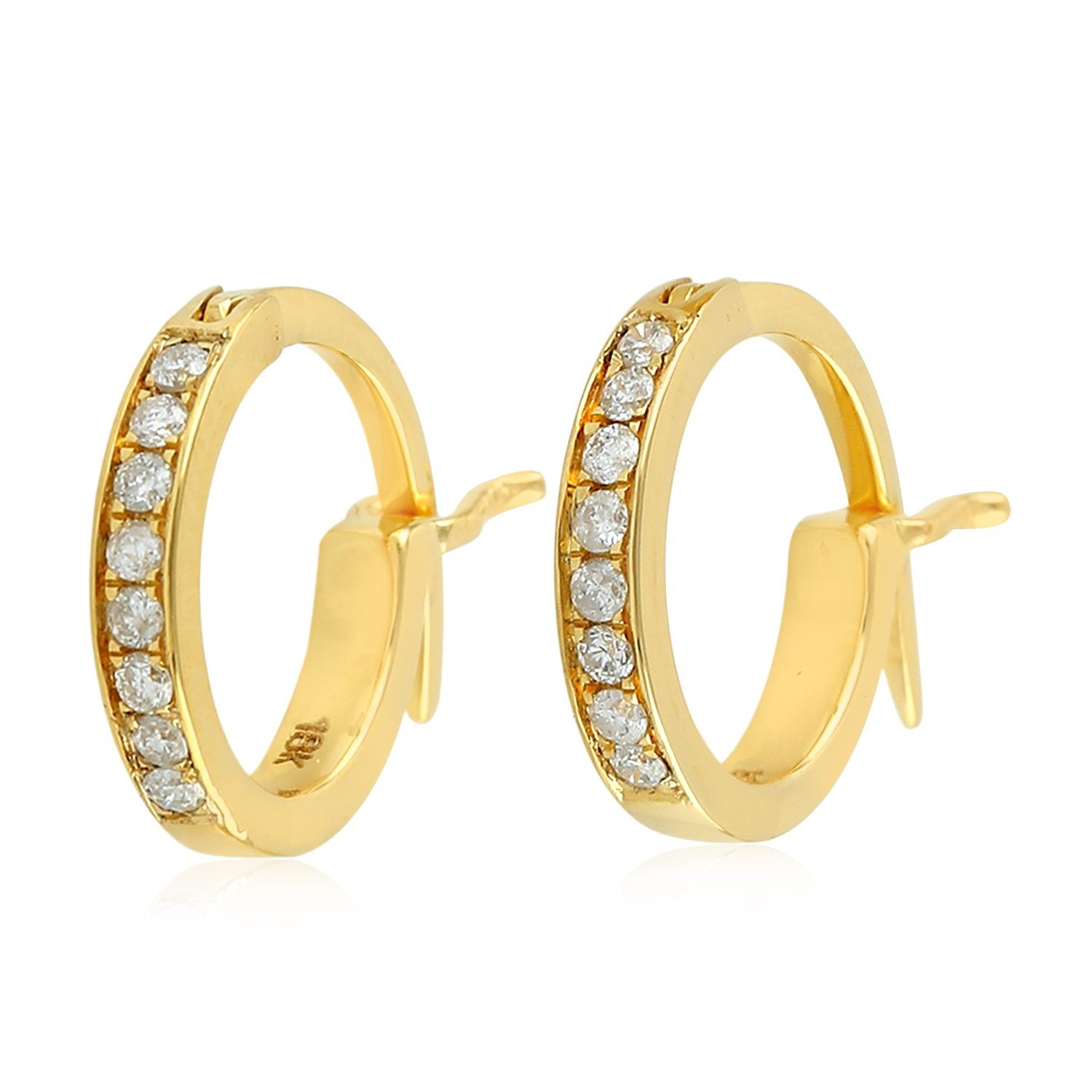 Micropave-Set White Diamond Huggie Hoop Earrings in 18K Yellow Gold