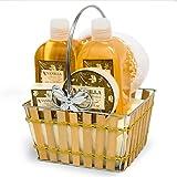 Geschenkkorb Pflegeset Geschenkset Beauty Wellness Bade Set 6-teilig Vanille II
