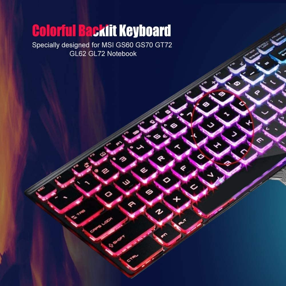 Full Color Backlit Keyboard Popular Keyboard Layout Bewinner Backlit Replacement Keyboard for Notebook MSI GS60 GS70 GT72 GL62 GL72
