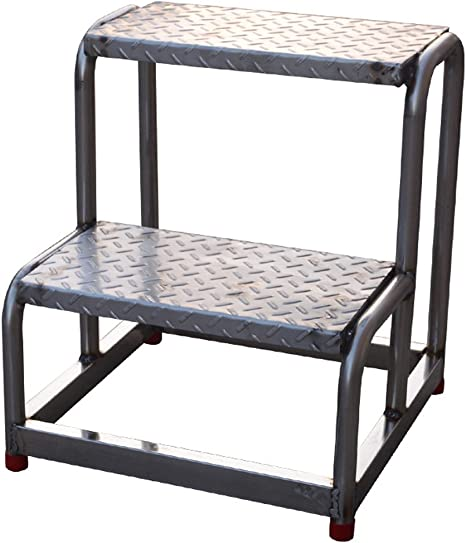 CAIJUN Al Aire Libre Taburete Two Steps Escalera Industrial Acero Inoxidable Escalar Alto Escalera De Plataforma Antideslizante Doble Uso (Color : Black, Size : 45x43x50cm): Amazon.es: Hogar