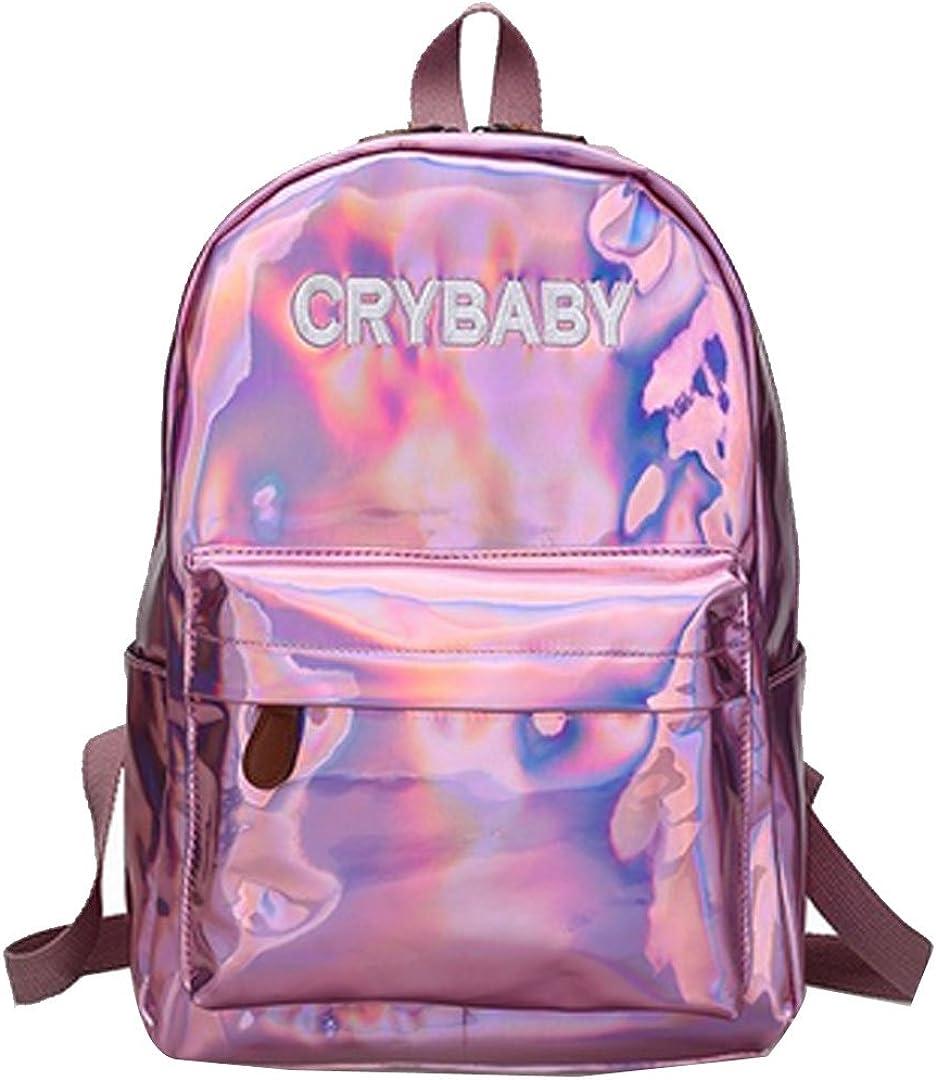 Aisa Fashion Holographic Laser Backpack Big Capacity PU Leather School Bag Travel Satchel Shoulder Bag Leisure Daypacks