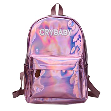 127f89171cb Mily Holographic Laser Backpack Big Capacity Casual Travel Backpack School  Bag (pink)