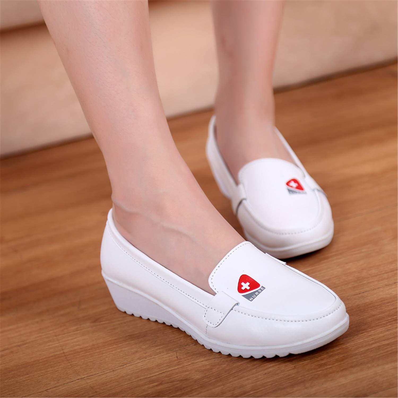 EKINL Womens Medical Nurse Shoes Ladies Air Cushioning Loafers Professional Working Flats White Platform Wedges