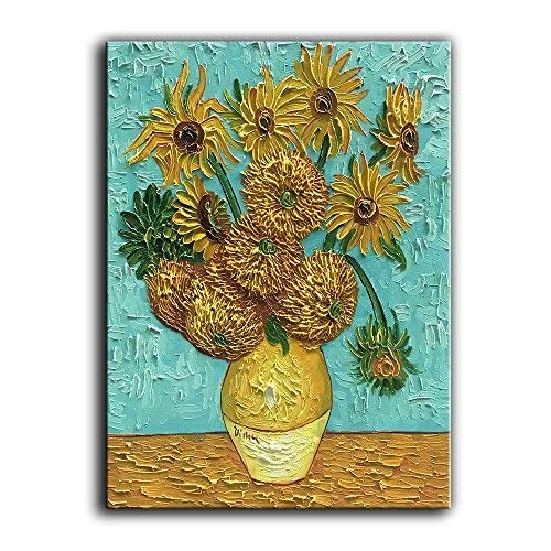 - YaSheng Art -100% Hand-Painted Oil Paintings On Canvas Van Gogh Sunflower Flowers Artwork Pictures Modern Home Office Decorations Canvas Wall Art Painting Framed Stretched Ready to Hang 20x24inch